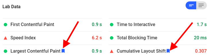 Core Web Vitals in Google Pagespeed Insights