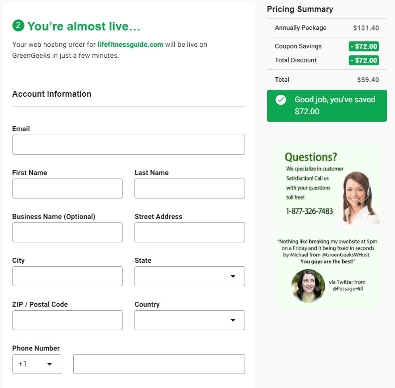 GreenGeeks Payment